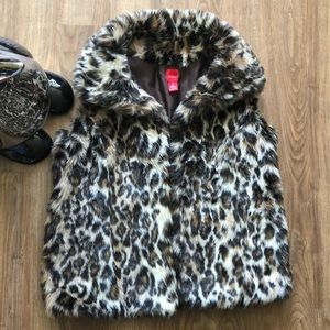 RED Saks Fifth Avenue Animal Print Open Vest Small